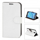FLOWER SHOW Stylish PU Leather Stand Case w/ Card Slots for Samsung Galaxy S4 / i9500 - White