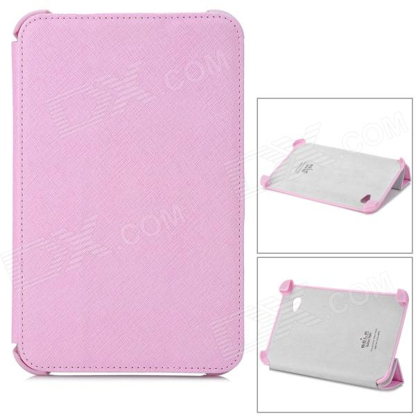 Cross Pattern Protective PU Leather Case for Samsung P3100 - Pink