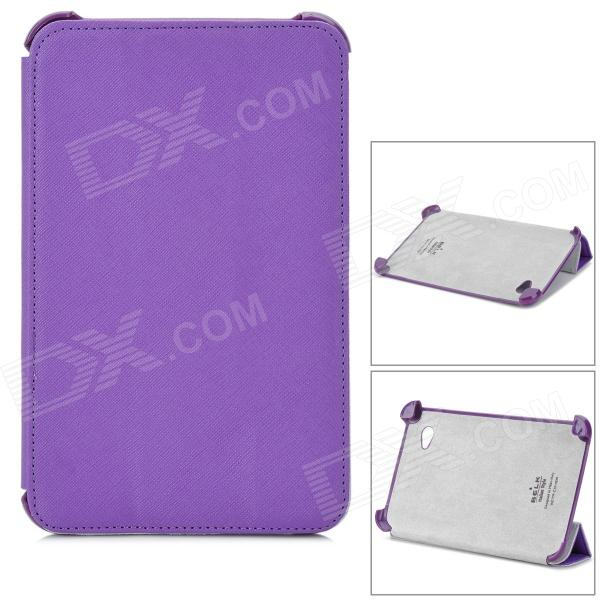Cross Pattern Protective PU Leather Case for Samsung P3100 - Purple