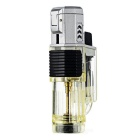 Triple-Flame Windproof Butane Gas Lighter - Silver + Translucent Black