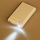 20000mAh Dual-USB Power Bank w/ LED for IPHONE + More - Black + White