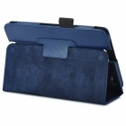 Lichee Pattern Protective PU Leather Case for Amazon Kindle Fire HD / HD 2 - Deep Blue