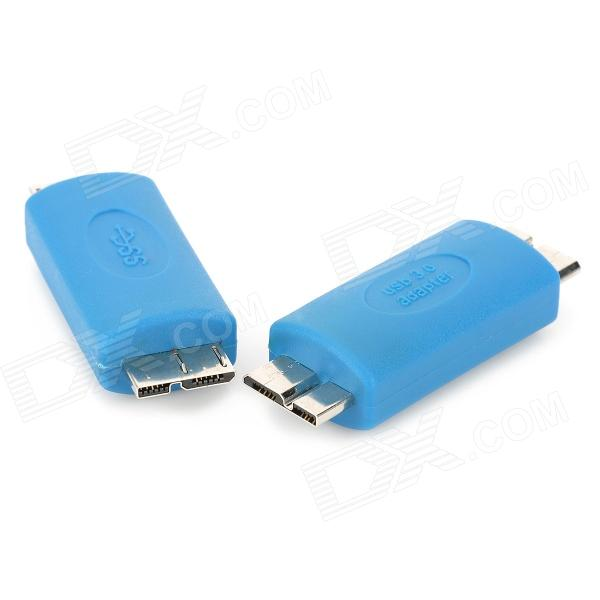 USB 3.0 Micro 9pin Male to Male Charging Adapter for Samsung Galaxy Note 3 N900 + More - Blue (2PCS)