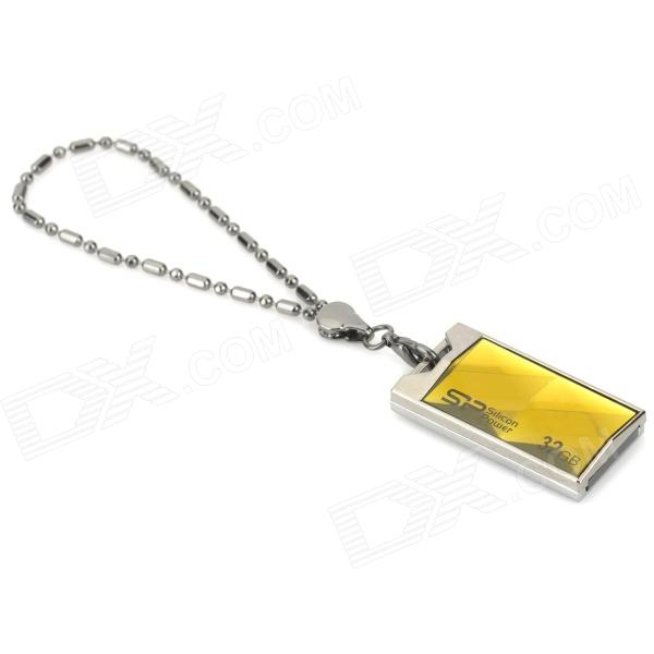 SP 850 Dust-Proof Rainproof USB 2.0 Flash Drive - Silver + Yellow + Black (32GB) sp t01 waterproof zinc alloy usb 2 0 flash drive w chain silver grey black