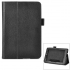 Lichee Pattern Protective PU Leather Flip-open Holder Case for Amazon Kindle Fire HD / HD 2 - Black