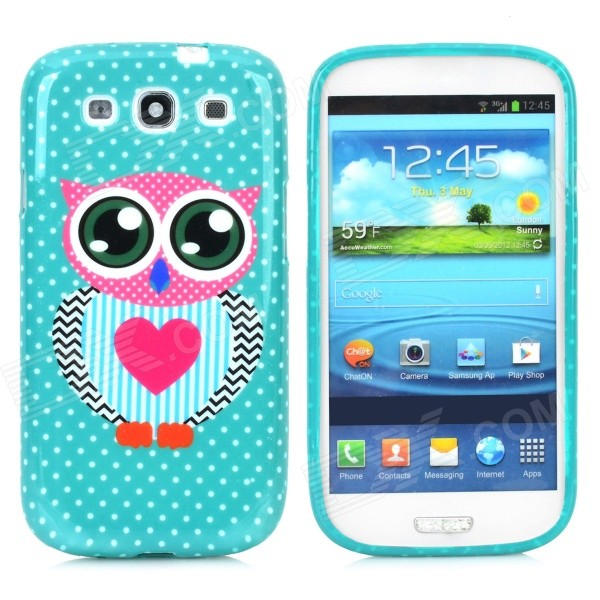 Cute Owl Love Heart Style Protective Silicone Back Case for Samsung i9300 - Green + Deep Pink