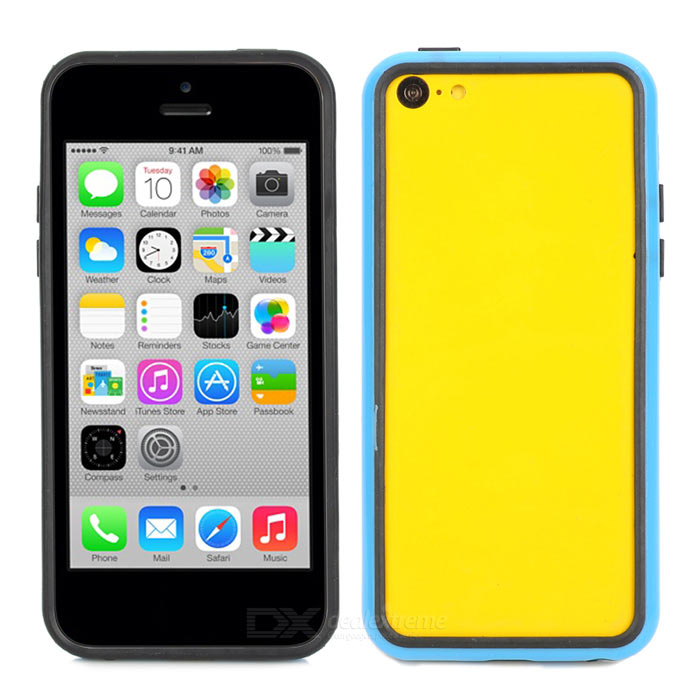 Protective Plastic Bumper Frame Case for Iphone 5C - Black + Blue stylish protective plastic bumper frame case for iphone 5c beige black
