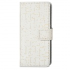 A-443 Cool Protective PU Leather + Plastic Case for iPhone 5c - White + Golden