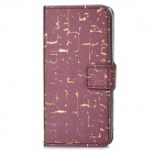 A-443 Cool Protective PU Leather + Plastic Case for iPhone 5c - Burgundy + Golden
