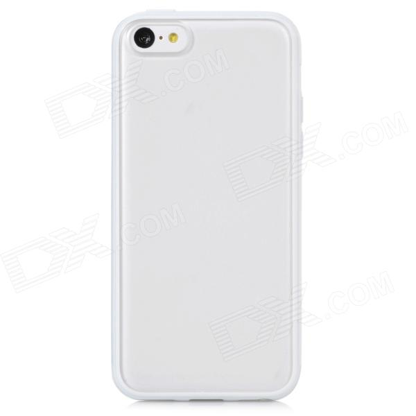 Protective TPU + Plastic Back Case for Iphone 5C - White + Translucent White