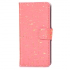 A-443 Cool Protective PU Leather + Plastic Case for Iphone 5C - Pink + Golden