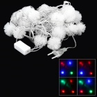 20LED Christmas Snowball Style 1.5W 480lm 1700K 20-LED RGB Light String (EU Plug / 490cm)