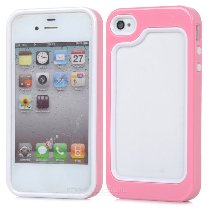 Stylish Protective Plastic + TPU Bumper Frame for Iphone 4 / 4S - Pink + White stylish protective bumper frame case for iphone 4 4s dark blue