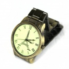 Retro Paris Tower Pattern Zinc Alloy Men's Quartz Analog Wrist Watch - Bronze (1 x 377)