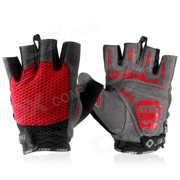 INBIKE Outdoor Sports Cycling Fitness Half Fingers Gloves - Black + Grey + Red  (Pair / Size M) spakct cool006 knuckle riding cycling gloves black white red xl 21cm