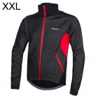 Outto Windproof Rainproof Men's Cycling Warm Long Sleeves Coat - Black + Red (Size XXL)