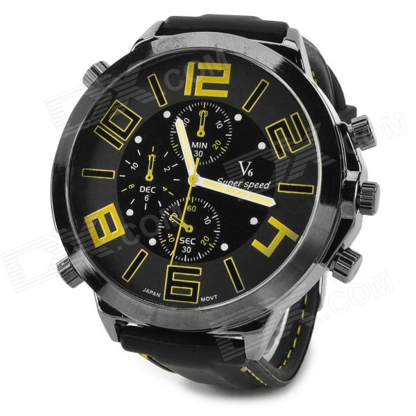 Fashion Stainless Steel Case Silicone Band Quartz Analog Wrist Watch for Men - Black + Yellow 2017 new arrival hot fashion men stainless steel band analog quartz movement wrist watch 5 2