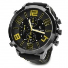 Fashion Stainless Steel Case Silicone Band Quartz Analog Wrist Watch for Men - Black + Yellow