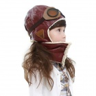 FXM-01 Artificial Sheepskin + Cotton Velveteen Aviator Hat w/ Eyeglasses for Children - Wine Red