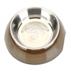 Super Stainless Steel + Plastic Dual Bowl for 1~2Kg Dog / Cat - Silver + Coffee (S)