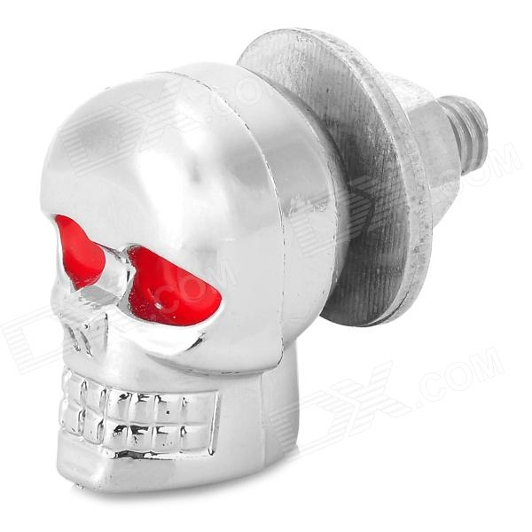 Motorcycle Skull Style Decoration Screw - Silver + Red