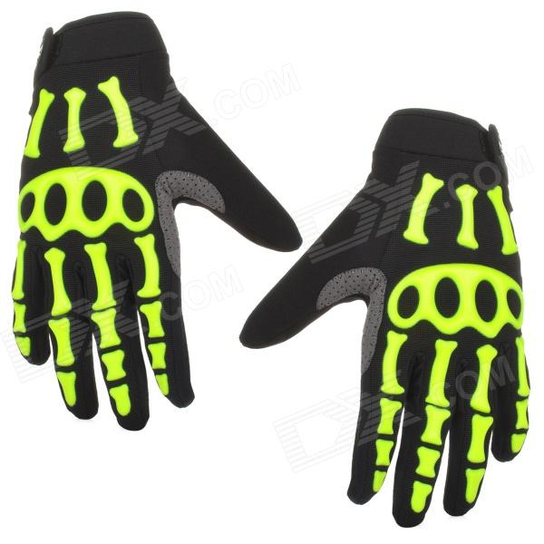 Spakct Skeleton Style Bicycle Riding Gloves - Black + Green (Size XL / 2 PCS) spakct cool006 knuckle riding cycling gloves black white red xl 21cm