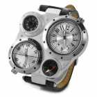 4-Dail Zinc Alloy Case PU Band Quartz Analog Wrist Watch w/ Compass for Men - Black + Silver