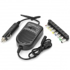 8-in-1 Multifunction 80W Car Power Adapter w/ 8 x Connectors for Laptop PC - Black