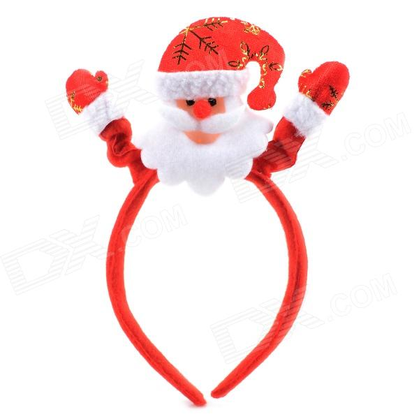 Santa Claus Style Plastic Cloth Hair Band - Red + White
