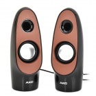 AX-156 6W USB Powered Mini Stereo Speakers w/ 3.5mm Jack - Black + Brown (2 PCS)
