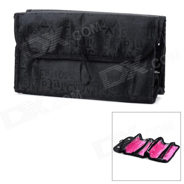 Portable Foldable Travel Cosmetic Make-up Storage Bag - Black + Deep Pink spark storage bag portable carrying case storage box for spark drone accessories can put remote control battery and other parts