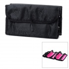 Portable Foldable Travel Cosmetic Make-up Storage Bag - Black + Deep Pink