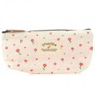 Fashion Flower Style Canvas Pencil Pen Bag Pouch - Beige + Red + Green