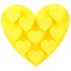 GEL-62809 DIY 9-Cup Silicone Heart Shape Cake Ice Tray Mould - Yellow