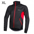 Outto Men's Stylish Windproof Rain Resistant Warm Zipper Coat Jersey for Cycling - Black + Red (XL)