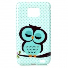 Sleeping Owl Pattern Silicone Back Case for Samsung i9100 - Green + Black