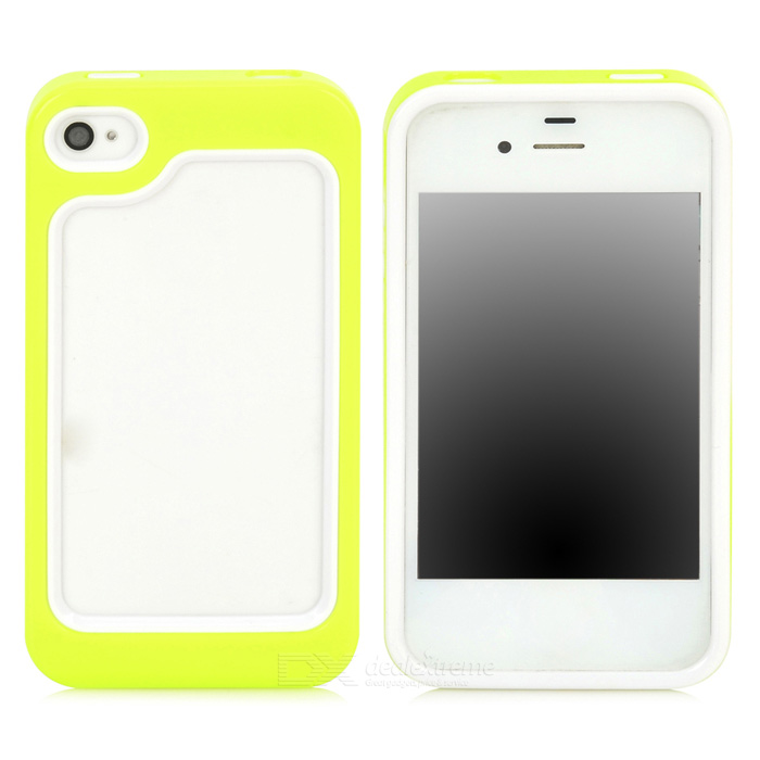 Protective Plastic + TPU Bumper Frame for Iphone 4 / 4S - Green + White стоимость
