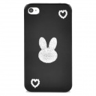 Cute Rabbit Pattern Protective Plastic Back Case for Iphone 4 / 4S - Black + White + Silver