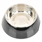 Super Convenient 2-in-1 Stainless Steel + ABS Pet Feeding Bowel for Dog / Cat - Black + Silver (M)