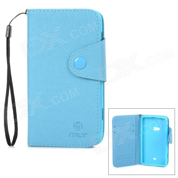 Stylish Flip-Open PU + TPU Case w/ Card Slots for Nokia 625 - Blue stylish flip open pu tpu case w card slots for nokia 625 blue