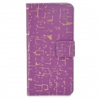 Protective PU Leather + Plastic Case w/ Card Slot for Iphone 5C - Purple + Golden