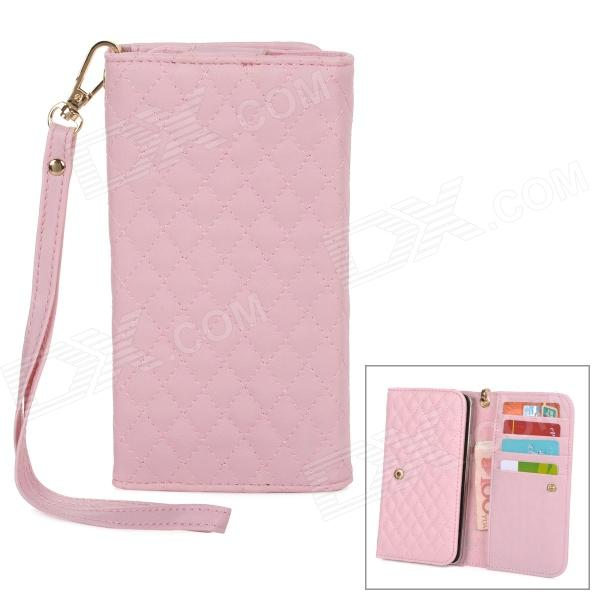 Wallet Style Checked Pattern PU Leather Case w/ Card Holder for Samsung Galaxy Note 3 N9000 - Pink enkay protective tpu back case w holder stand for samsung galaxy note 3 n9000 pink