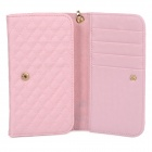 Wallet Style Checked Pattern PU Leather Case w/ Card Holder for Samsung Galaxy Note 3 N9000 - Pink