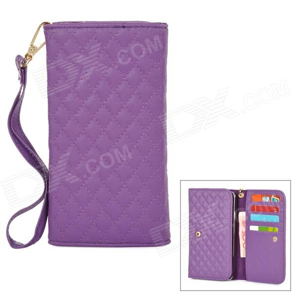 Wallet Style Checked Pattern PU Leather Case w/ Card Holder for Samsung Galaxy Note 3 N9000 - Purple protect artificial leather wallet case w plastic holder for samsung galaxy note i9220 black