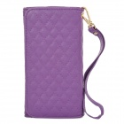 Wallet Style Checked Pattern PU Leather Case w/ Card Holder for Samsung Galaxy Note 3 N9000 - Purple