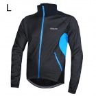 Outto Men's Stylish Windproof Rain Resistant Warm Zipper Coat Jersey for Cycling - Black + Blue (L)