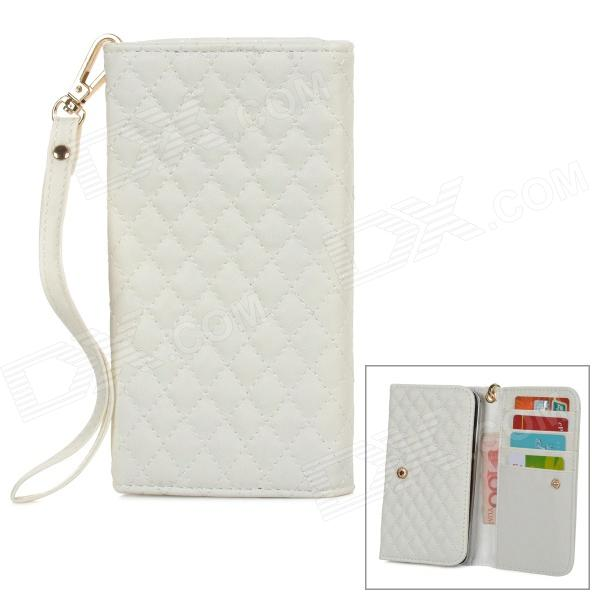 Wallet Style Checked Pattern PU Leather Case w/ Card Holder for Samsung Galaxy Note 3 N9000 - White protect artificial leather wallet case w plastic holder for samsung galaxy note i9220 black