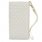 Wallet Style Checked Pattern PU Leather Case w/ Card Holder for Samsung Galaxy Note 3 N9000 - White