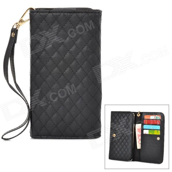 Wallet Style Checked Pattern PU Leather Case w/ Card Holder for Samsung Galaxy Note 3 N9000 - Black protect artificial leather wallet case w plastic holder for samsung galaxy note i9220 black
