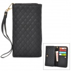 Wallet Style Checked Pattern PU Leather Case w/ Card Holder for Samsung Galaxy Note 3 N9000 - Black